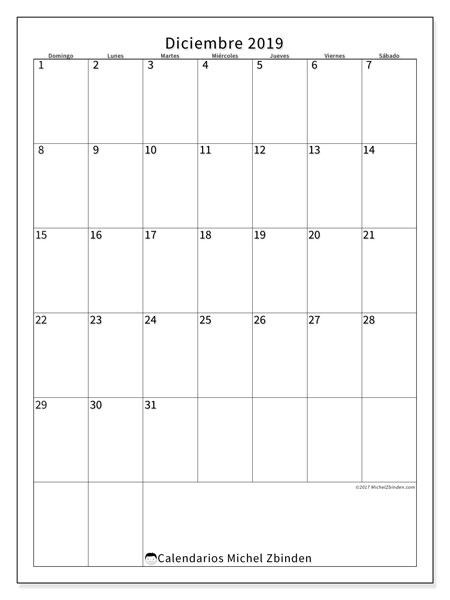 Calendario diciembre 2019, 52DS. Calendario imprimible gratis.