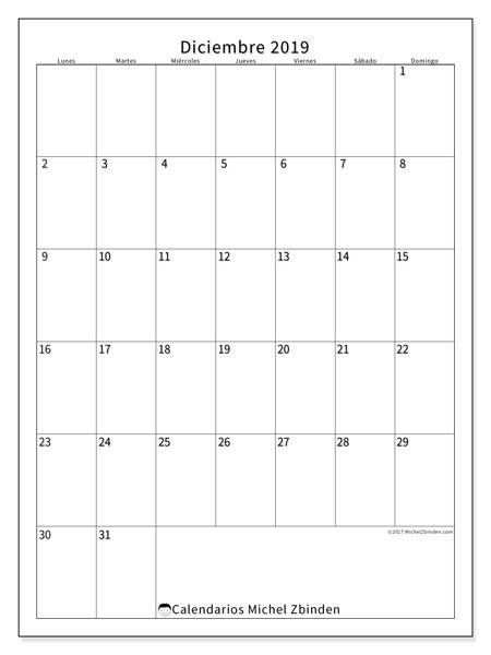 Calendario diciembre 2019, 52LD. Calendario para imprimir gratis.