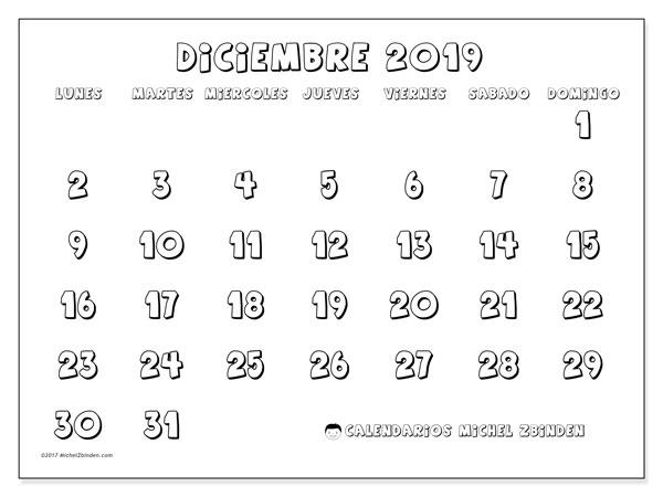 Calendario diciembre 2019, 56LD. Calendario imprimible gratis.