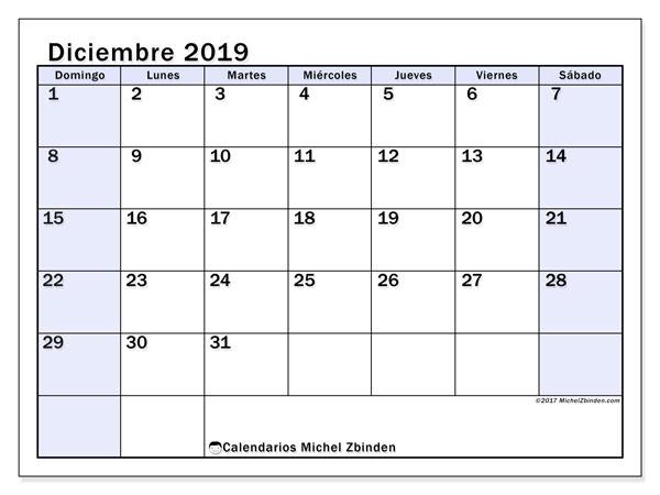 Calendario diciembre 2019, 57DS. Almanaque para imprimir gratis.