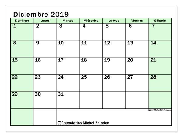Calendario diciembre 2019, 60DS. Planificación para imprimir gratis.
