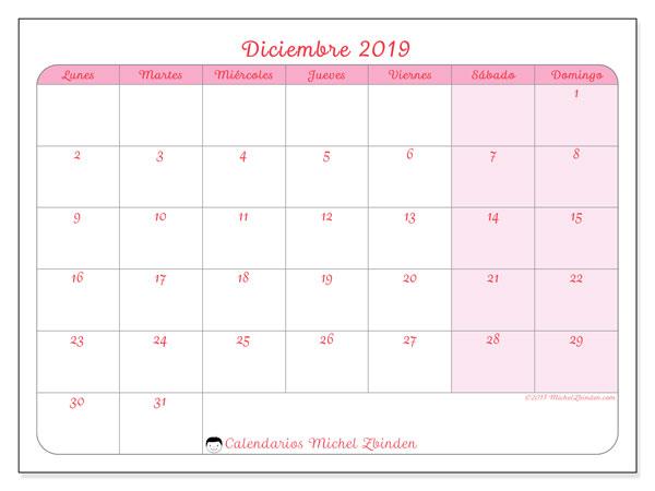 Calendario diciembre 2019, 63LD. Calendario mensual para imprimir gratis.