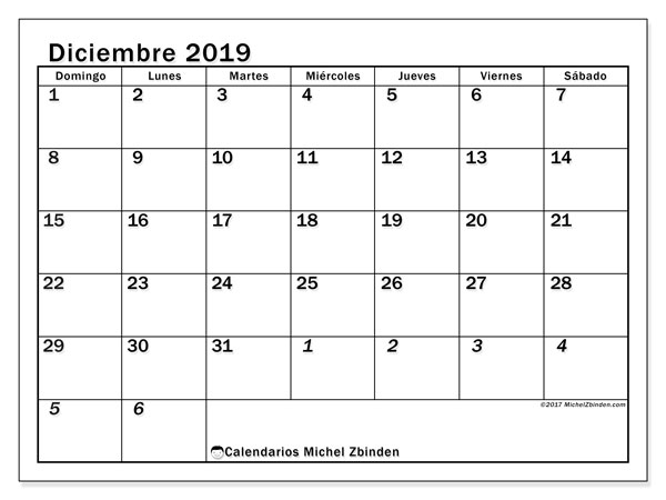 Calendarios para imprimir 2019 (DS). Calendario 66DS.