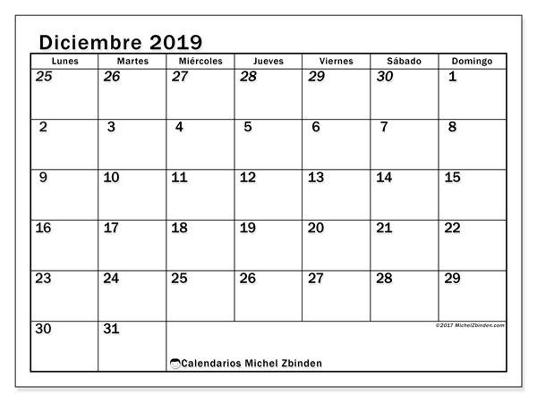 Calendario diciembre 2019, 66LD. Calendario mensual para imprimir gratis.