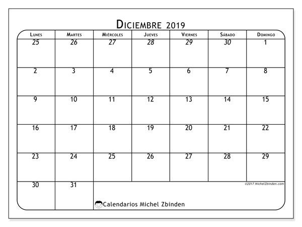 Calendario diciembre 2019, 67LD. Calendario imprimible gratis.