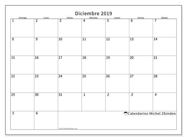 Calendario diciembre 2019, 70DS. Calendario mensual para imprimir gratis.