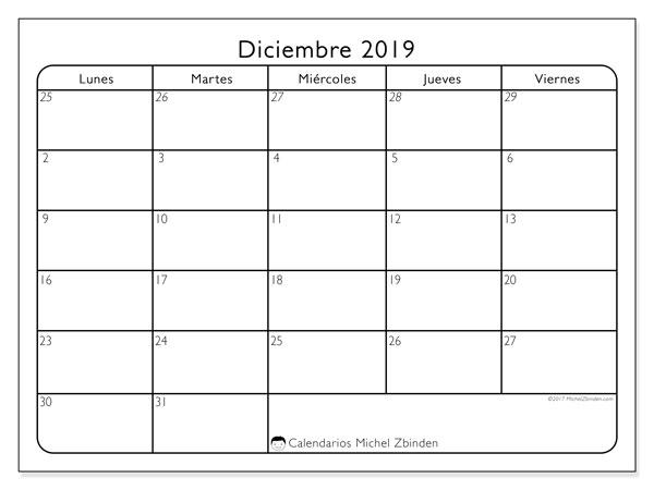 Calendario diciembre 2019, 74LD. Calendario mensual para imprimir gratis.