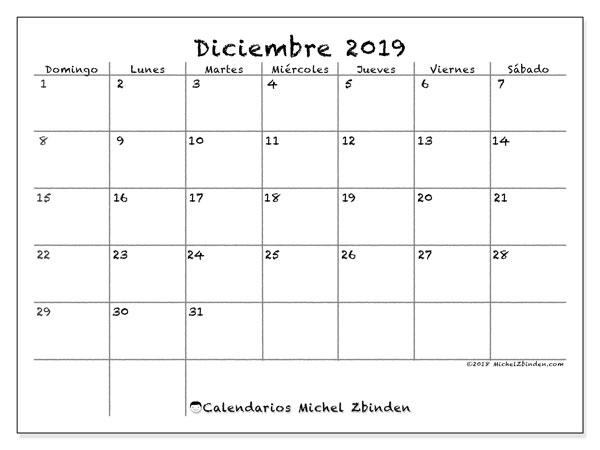 Calendario diciembre 2019, 77DS. Calendario gratuito para imprimir.