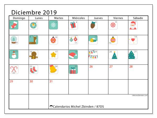Calendario diciembre 2019, 87DS. Calendario de Adviento. Calendario imprimible gratis.