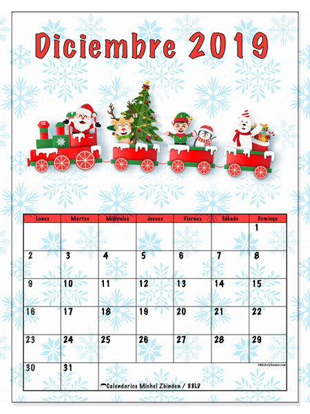 Calendario diciembre 2019, 88LD. Tren de santa. Calendario imprimible gratis.