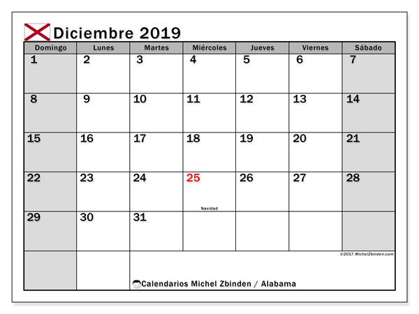 Calendario diciembre 2019, con días feriados de Alabama. Calendario vacaciones y festivos para imprimir gratis.