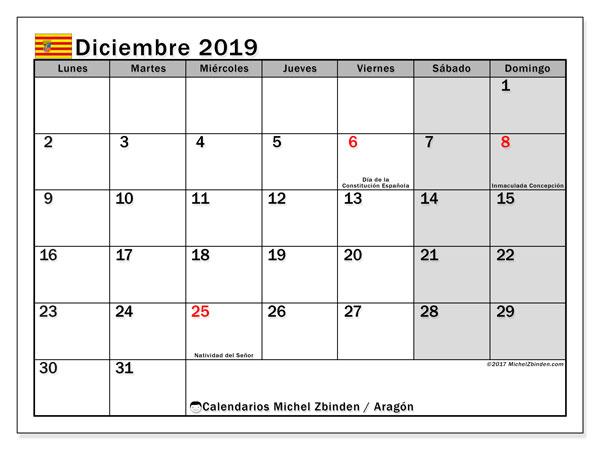 Calendario diciembre 2019, con días feriados de Aragón. Calendario vacaciones y festivos para imprimir gratis.