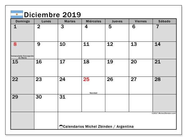 Calendario diciembre 2019, con los días feriados en Argentina. Calendario mensual para imprimir gratis.