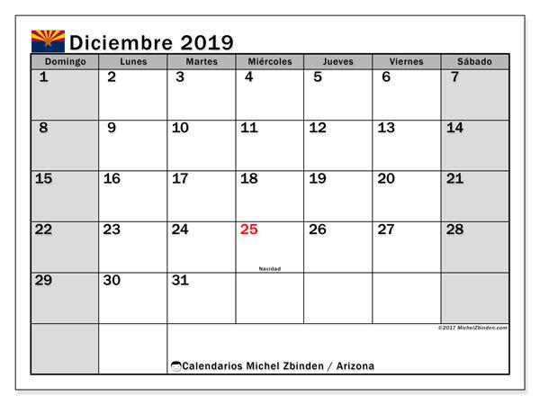 Calendario diciembre 2019, con días feriados en Arizona. Calendario para imprimir gratis con días festivos.