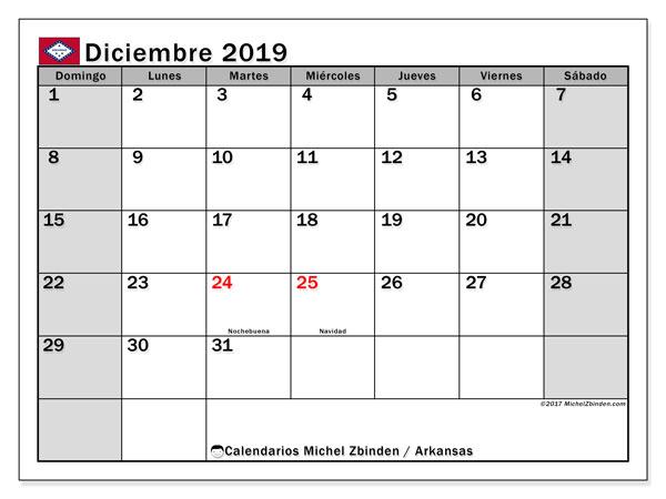 Calendario diciembre 2019, con días feriados de Arkansas. Calendario para imprimir gratis con días festivos.
