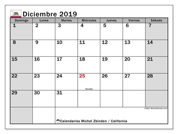 Calendario diciembre 2019, con días feriados de California. Calendario vacaciones y festivos para imprimir gratis.