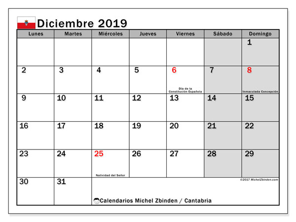 Calendario diciembre de 2019 - Cantabria. Calendario para imprimir: fiestas oficiales y días feriados.