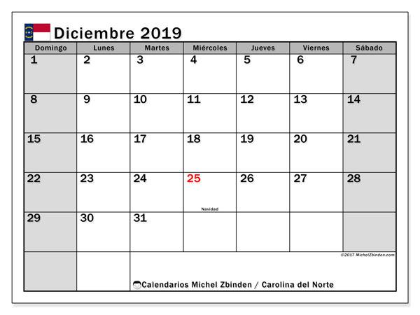 Calendario diciembre 2019, con días feriados en Carolina del Norte. Calendario vacaciones y festivos para imprimir gratis.