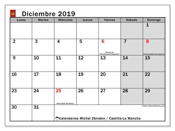 Calendario diciembre 2019, con días feriados en Castilla-La Mancha. Calendario para imprimir gratis con días festivos.