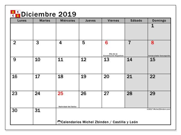 Calendario diciembre 2019, con los días festivos de Castilla y León. Calendario imprimible gratis.