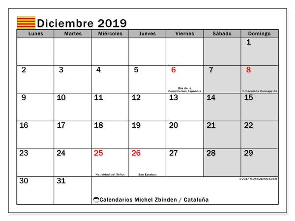 Calendario diciembre 2019, con los días festivos de Cataluña. Calendario para el mes para imprimir gratis.