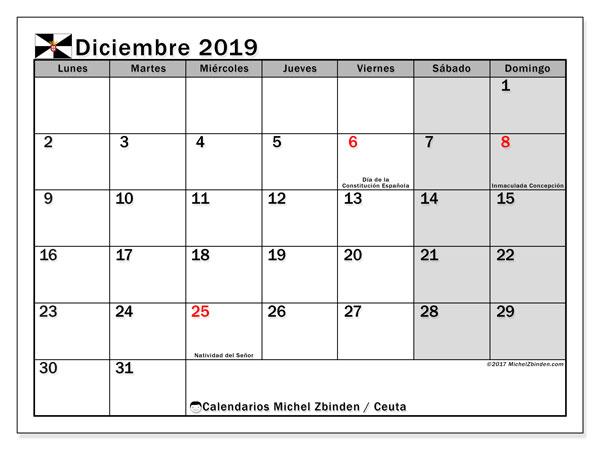 Calendario diciembre 2019, con días feriados en Ceuta. Calendario vacaciones y festivos para imprimir gratis.