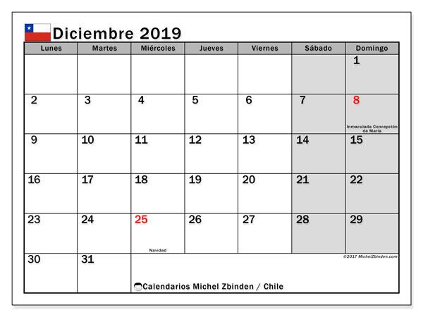 Calendario diciembre 2019, con los días feriados para Chile. Calendario para imprimir gratis.