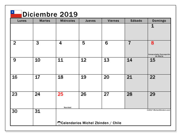 Calendario Diciembre.Calendario Diciembre 2019 Chile Michel Zbinden Es