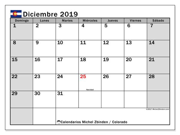 Calendario diciembre 2019, con días feriados en Colorado. Calendario vacaciones y festivos para imprimir gratis.