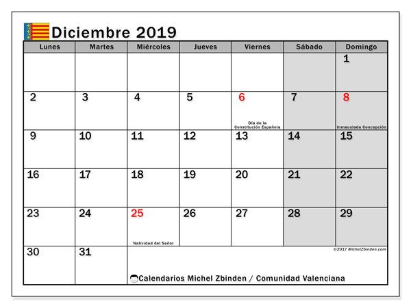 Calendario diciembre 2019, con días feriados de la Comunidad Valenciana. Calendario vacaciones y festivos para imprimir gratis.