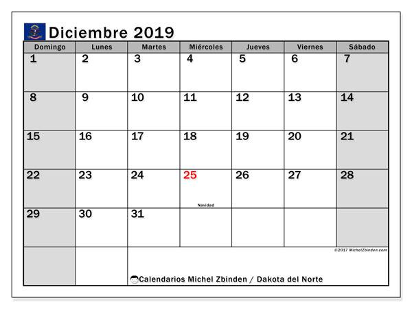 Calendario diciembre 2019, con días feriados en Dakota del Norte. Calendario vacaciones y festivos para imprimir gratis.