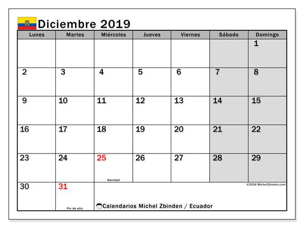 Calendario diciembre 2019, con los días feriados para Ecuador. Almanaque para imprimir gratis.