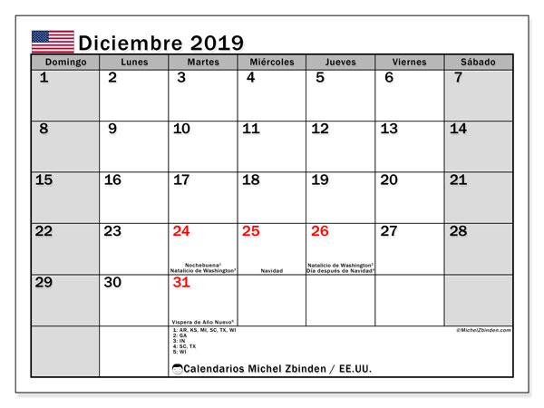 Calendario diciembre 2019, con días feriados de EE.UU.. Calendario para imprimir gratis con días festivos.