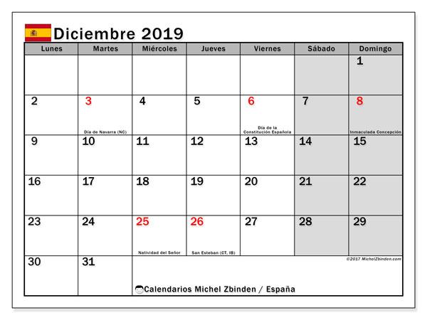 Calendario diciembre 2019, con días feriados en España. Calendario para imprimir gratis con días festivos.