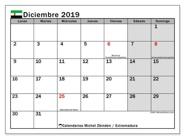 Calendario diciembre 2019, con días feriados en Extremadura. Calendario vacaciones y festivos para imprimir gratis.