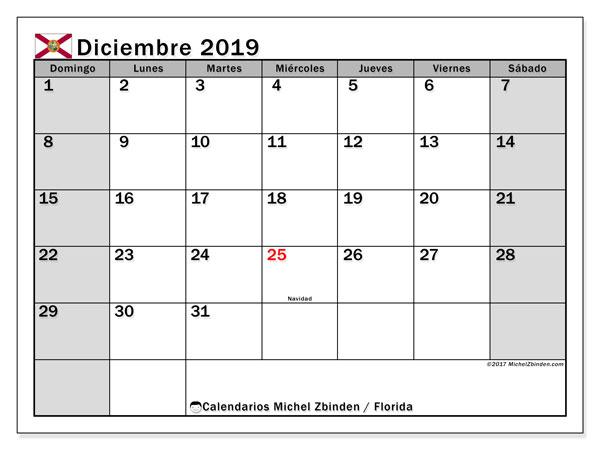Calendario diciembre 2019, con días feriados en Florida. Calendario para imprimir gratis con días festivos.
