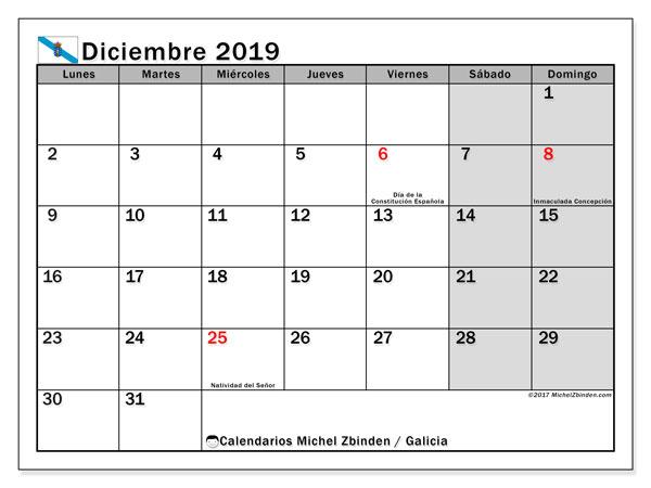 Calendario diciembre 2019, con días feriados en Galicia. Calendario para imprimir gratis con días festivos.