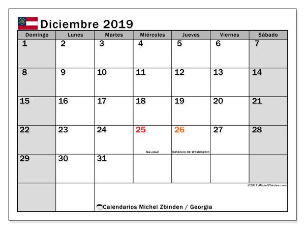 Calendario diciembre 2019, con días feriados en Georgia. Calendario para imprimir gratis con días festivos.