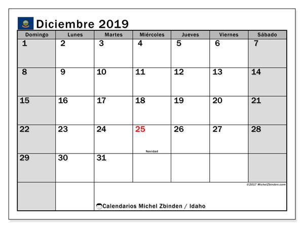 Calendario diciembre 2019, con días feriados de Idaho. Calendario para imprimir gratis con días festivos.