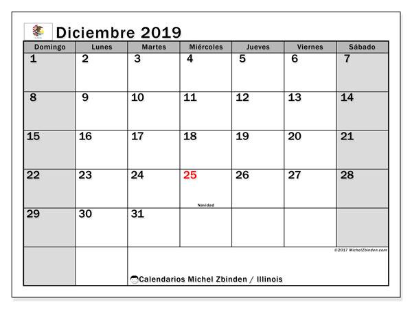 Calendario diciembre 2019, con días feriados en Illinois. Calendario para imprimir gratis con días festivos.