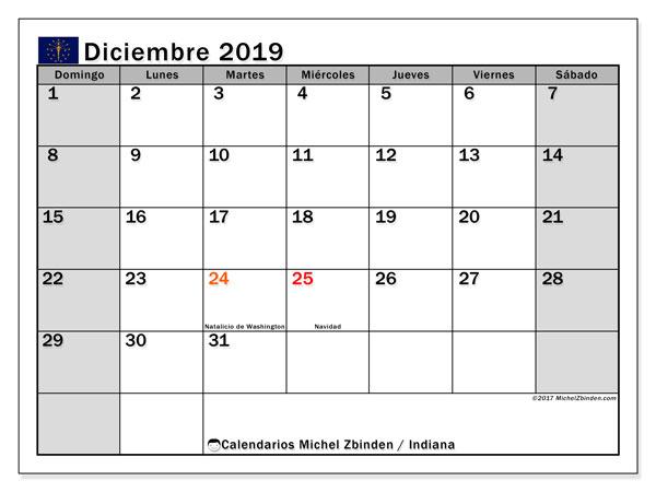 Calendario diciembre 2019, con días feriados de Indiana. Calendario para imprimir gratis con días festivos.
