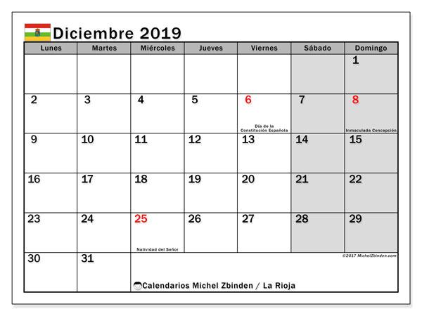Calendario diciembre 2019, con días feriados en La Rioja. Calendario para imprimir gratis con días festivos.