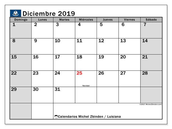 Calendario diciembre 2019, con días feriados en Luisiana. Calendario vacaciones y festivos para imprimir gratis.