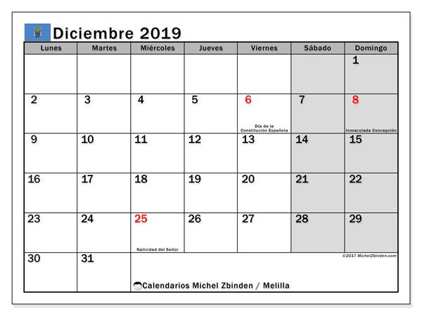 Calendario diciembre 2019, con días feriados en Melilla. Calendario vacaciones y festivos para imprimir gratis.
