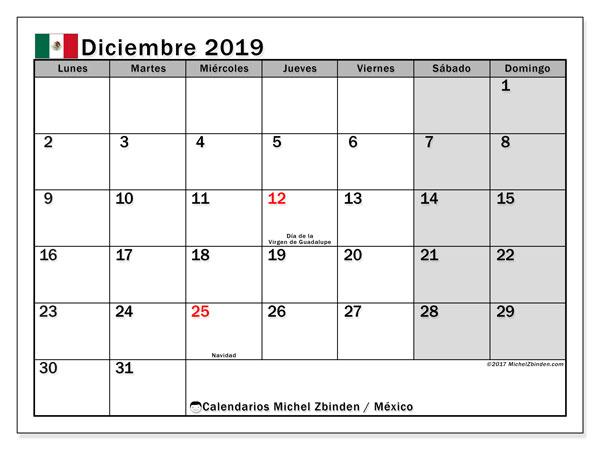 Calendario diciembre 2019, con los días feriados en México. Calendario para imprimir gratis.