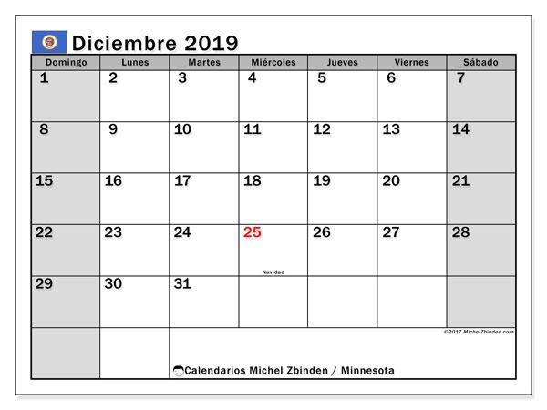 Calendario diciembre 2019, con días feriados de Minnesota. Calendario para imprimir gratis con días festivos.