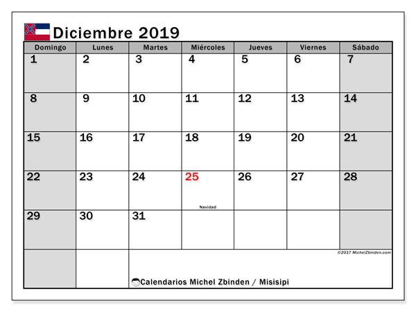 Calendario diciembre 2019, con días feriados en Misisipi. Calendario para imprimir gratis con días festivos.