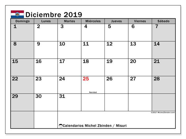 Calendario diciembre 2019, con días feriados en Misuri. Calendario vacaciones y festivos para imprimir gratis.