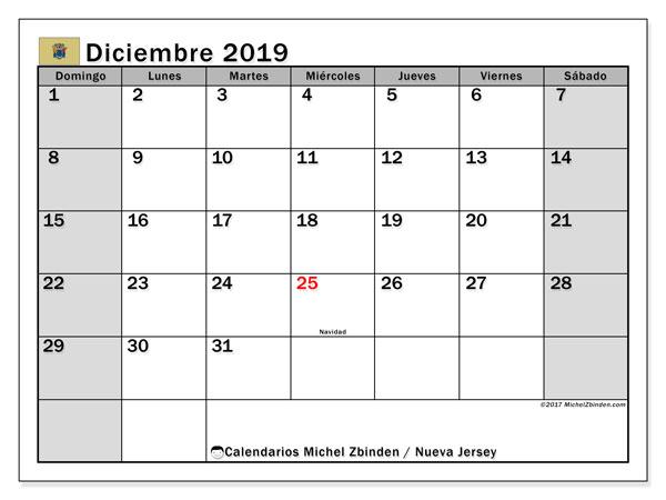 Calendario diciembre 2019, con días feriados en Nueva Jersey. Calendario para imprimir gratis con días festivos.