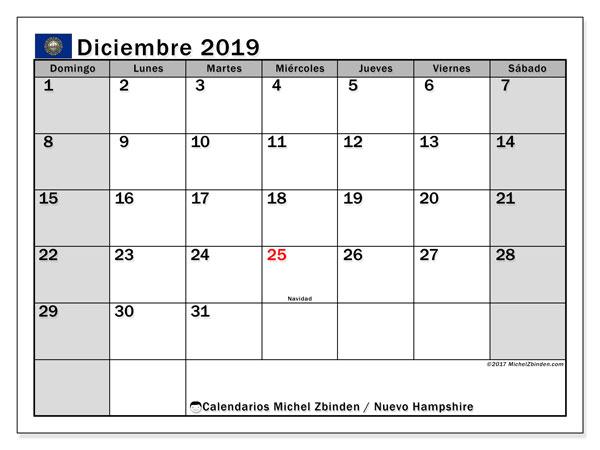 Calendario diciembre 2019, con días feriados en Nuevo Hampshire. Calendario vacaciones y festivos para imprimir gratis.